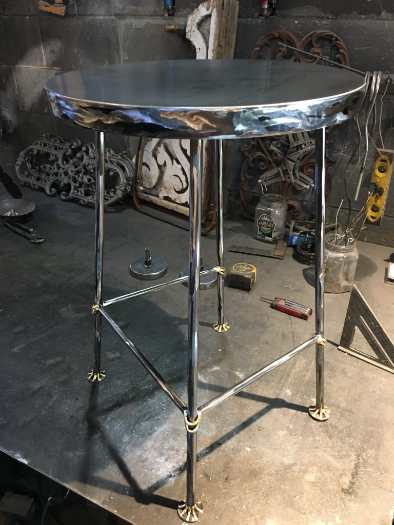 Phenomenal Shaved Steel Swivel Stool With Gold Leaf Accents 325 Ocoug Best Dining Table And Chair Ideas Images Ocougorg